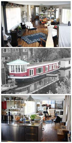 Is it really possible to live on a houseboat?different types of houseboats that are commonly used as fulltime dwellings of vacation homes. Dutch Barge, Houseboat Living, Living On A Boat, Water House, Boat Interior, Canal Boat, Floating House, Narrowboat, Wooden Boats