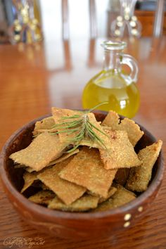 Olive oil rosemary wheat thins (crackers)