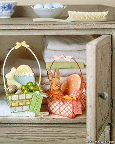 recycle plastic berry baskets in to little easter baskets. now where to get berry baskets?