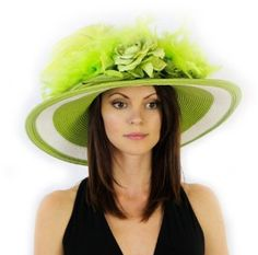 Ageless Angela Exclusive 2 Toned Derby Hat with Giant Bow in 4 Colors Hat Colors: Lime Greatlookz. $74.99