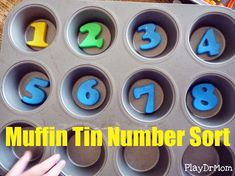 PlayDrMom's Muffin Tin Number Sort.  A fun way to learn number recognition. And many more fun math games in this post.