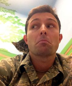 Military Vet and His 2 Adopted Kitties - Love a tough guy with a heart of gold. <3