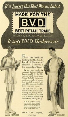 1917 Ad B. V. D. Men's Undergarments Underwear Fashion - ORIGINAL HST1