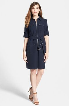 Free shipping and returns on MICHAEL Michael Kors Roll Sleeve Belted Shirtdress (Regular & Petite) at Nordstrom.com. A zippered front and other hardware modernize a slim shirtdress with a quartet of snap-flap pockets. Snap-tabs roll the elbow-length sleeves.