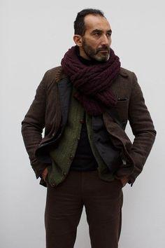 Men's Burgundy Knit Scarf, Olive Knit Cardigan, Black Turtleneck, Dark Brown Chinos, Dark Brown Wool Blazer, and Black Cotton Blazer