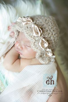 Newborn Hat Baby Bonnet Newborn Bonnet Photo Prop by kirinati, 25.00