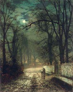 """aerosolhalos:  crashinglybeautiful:  John  Atkinson Grimshaw - """"A Moonlit Lane"""" (1874) (from: dreaminginthedeepsouth, my-ear-trumpet & nachtseite)"""