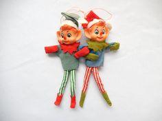 vintage pixie ornaments 2 Christmas pixies elves Christmas