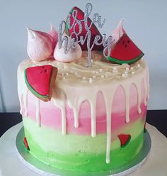 Watermelon Themed ombre drizzle cake