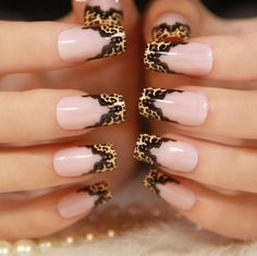 Leopard print with black lace nail designs