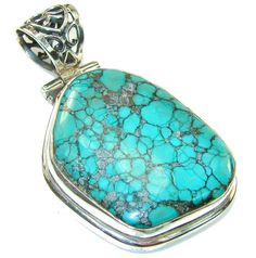 $121.25 Mountain Spiderweb, A-Grade Blue/Green! Turquoise Sterling Silver Pendant at www.SilverRushStyle.com #pendant #handmade #jewelry #silver #turquoise