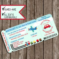 Boarding Pass Invitations, Planes trains automobiles, Planes Trains and Automobiles Invitations, Planes Trains Automobiles Party ▬▬▬▬▬▬▬▬▬▬▬▬▬▬▬ ►►PRINTED INVITATIONS◄◄ ▬▬▬▬▬▬▬▬▬▬▬▬▬▬▬ This invite is just perfect for your Transportation Party. If your little guy or gal is obsessed with Planes, Trains and Automobiles, this is the invite for you. I will completely customize your text and print these invitations for you. These super cool invites are 8 x 3½ At checkout, please let me know... 1…
