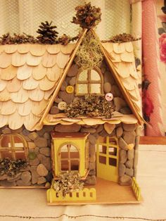 Enchanted Fairy House or Doll House made of Beach Stones, Birch and Lichen Fairie Front Property