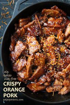 Crispy Orange Pork made with Otto's Naturals Cassava Flour (AIP modifications) | Paleo Parents