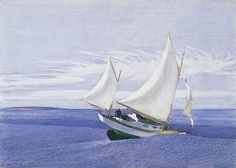 Edward Hopper: Yawl Riding a Swell/ watercolor over graphite 1935