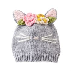 Crochet Baby Hats Cat Knit Hat by Mud Pie months) - Heathered gray woven yarn cap features dimensional cat ears, crochet flower crown, ribbed brim and contrast nose and whiskers. Size: 6 to 18 months Bunny Hat, Cat Hat, Crochet Baby Booties, Crochet Hats, Cat Crochet, Knitting Patterns, Crochet Patterns, Crochet Baby Blanket Beginner, Knitted Flowers
