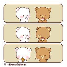 Can't give up the ⠀⠀⠀⠀⠀⠀⠀⠀⠀ Cute Bear Drawings, Easy Drawings, Cute Couple Cartoon, Cute Love Stories, Cute Love Gif, Cute Love Cartoons, Bear Wallpaper, Cute Chibi, Cute Comics