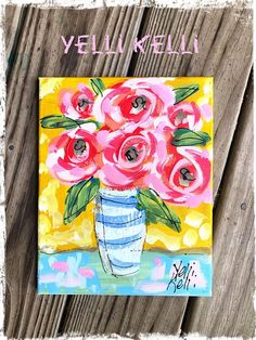 The bright colors in this sweet little painting will cheer any space! Size: 8 x 10 Ready to Ship! Abstract painting on stretched canvas. Small Canvas Paintings, Canvas Art, Art Paintings, Flowers In Vase Painting, Painting Workshop, Rose Art, Watercolor Artists, Flower Art, Flower Canvas