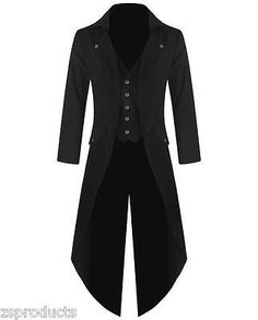 Men Handmade Black Banned Steampunk Tailcoat Gothic Jacket VTG Victorian Coat