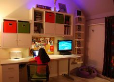 The wall unit creates a more stylish decor while also providing Cayley with a functional space for her homework and school projects. Description from homedit.com. I searched for this on bing.com/images