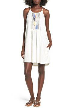 Roxy 'Night Was Young' Embroidered Knit Swing Dress