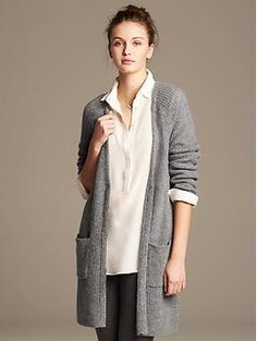 Also comes in light beige color. Merino Wool Long Cardigan