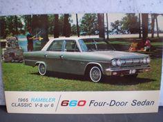 Vintage Mid Century Unused Car Advertisement Postcard - 1965 Rambler 660 Four Door Sedan by 20thCenturyCool on Etsy