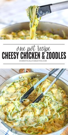 One pan is all you need to cook this crazy easy and deliciously cheesy Chicken and Zoodles dish that's packed full of creamy cheesy goodness! dinner zucchini One Pot Cheesy Chicken and Zoodles Healthy Dinner Recipes, Low Carb Recipes, Diet Recipes, Chicken Recipes, Shrimp Recipes, Baking Recipes, Healthy Dinner For One, Cabbage Recipes, Meatball Recipes