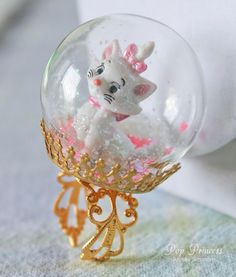 Large Aristocats White Persian Marie Cat in Glass Snow Globe Ring Terrarium on Etsy, £13.30 WHAAAAT
