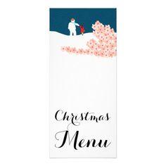 A Stroll With Snowman Christmas Menu Rack Card