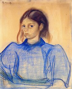 "drakontomalloi: "" Edvard Munch - Young Woman in Blue. 1891 """