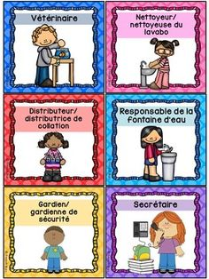 Responsabilités dans la classe - French Classroom Jobs - Thème: quadrillage Classroom Secrets, French Resources, Jobs, French Immersion, Foreign Languages, Etiquette, Thankful, Responsibility Chart, Abstract Paintings