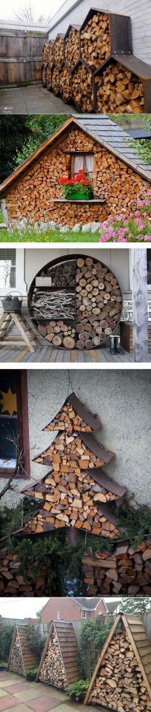 Как можно красиво хранить дрова на даче.