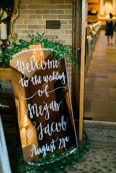 Molly Nicole Modern Calligraphy - Welcome Mirror Sign // Photo Credit: Cinderella Wedding Photography