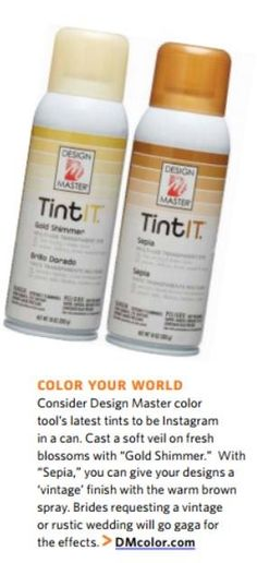 """""""INSTAGRAM IN A CAN"""". That's how the January issue of Floral Management Magazine described #TintIT. Gold Shimmer & Sepia sprays in their Promising Products for 2015. Find yours at your local distributor of Design Master products. www.dmcolor.com @dmcolortools"""