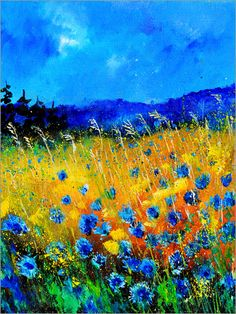 """""""Corn Flowers by Pol Ledent [Oil, Painting] Fantastic use of color! About the Artist: Pol Ledent born in Belgium, 23 October 1952 - started painting in 1989 - living in Houyet Belgium Landscape Art, Landscape Paintings, Art Paintings, Landscapes, Nature Paintings, Landscape Glass, Landscape Timbers, Nature Artwork, Acrylic Paintings"""