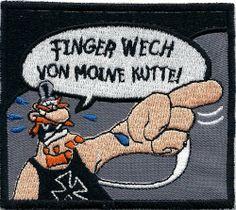 Finger weg Kutte Werner Beinhart Rockerbilly Biker Fun Aufnäher Abzeichen von www.Patches.cc, http://www.amazon.de/dp/B00C1MZE92/ref=cm_sw_r_pi_dp_dzGitb04R08JQ