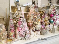 vintage bottle brush trees by Ms Bingles Jewelry Christmas Tree, Christmas Past, Pink Christmas, Vintage Christmas, Christmas Wreaths, Christmas Decorations, Christmas Ornaments, Holiday Decorating, Decorating Ideas