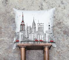 New York Skyline Nyc Pillow | New York Pillow Brooklyn Bridge Skyline CityScape Urban Skyline | City by UrbanWorksTextiles on Etsy https://www.etsy.com/listing/170781147/new-york-skyline-nyc-pillow-new-york