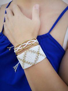 Set Of Two White Macrame Bracelets / Macrame Cuff / Women   Etsy Lace Bracelet, Shell Bracelet, Macrame Bracelets, Cuff Bracelets, Sliding Knot, Turquoise Cuff, Summer Jewelry, Adjustable Bracelet, Bohemian Jewelry