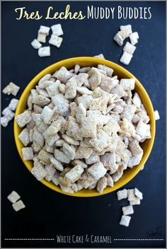 Tres Leches Muddy Buddies made with white cake, caramel and evaporated milk, having all the flavors of the famous milk cake but in a tasty bite sized snack. Puppy Chow Recipes, Chex Mix Recipes, Candy Recipes, Sweet Recipes, Snack Recipes, Chex Mix Muddy Buddies, Muddy Buddies Recipe, Yummy Snacks, Delicious Desserts