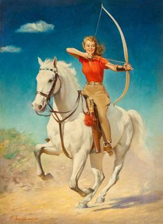 Pin-up, Illustrations, Advertisments, and Other Things that are Not Pulp Covers Vintage Cowgirl, Vintage Horse, Vintage Art, Painted Horses, Woman Archer, Arte Equina, Mounted Archery, Creation Photo, Tattoos Skull