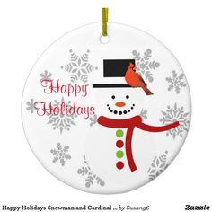 Happy Holidays Snowman and Cardinal Bird Ornament