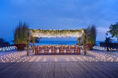 Twinkling yet romantic night in Bali | Best Bali wedding venue | This is amazing! Head over to Alila Hotels and Resorts (Bali) where you can see more of their unique works http://www.bridestory.com/alila-hotels-and-resorts-bali/instagram