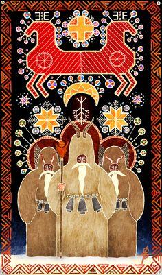 The Seven Gods Rusalii Jaro Okruta The Dreaming Man Kukers by Sukharev Pagan Art, Occult Art, Russian Folk Art, Ukrainian Art, Totems, Eslava, Traditional Art, Art Inspo, Painting & Drawing