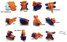 Snapazoo Fabric Origami Toy - made with snaps! Pattern available at http://www.kamsnaps.com/How-to-Make-a-Snapazoo-Shape-Shifter-Toy-67.html.  Snaps & tools sold at KAMsnaps.com.