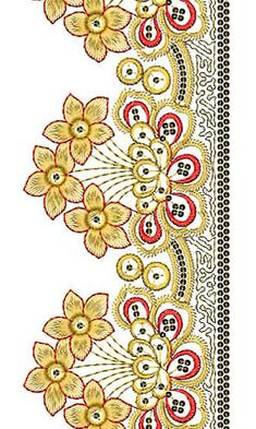 Border Embroidery Designs, Embroidery Suits Design, Embroidery Sampler, Lace Embroidery, Cross Stitch Embroidery, Machine Embroidery Designs, Embroidery Patterns, Vine Design, Border Design