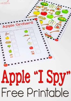 This is a Free Apple Orchard I Spy & Scavenger Hunt Printable! This is the best I spy game for kids! They will have so much fun with the apple theme scavenger hunt! Try this free printable today! Preschool Apple Theme, Apple Activities, Fun Math Activities, Autumn Activities For Kids, Fall Preschool, Preschool Learning, Preschool Apples, Family Activities, September Activities