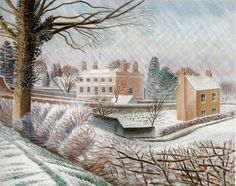 Heavenly Watercolours By Ravilious At Dulwich Picture Gallery - The winter sun casts an ethereal glow over this vicarage. Dulwich Picture Gallery, Between Two Worlds, Canvas Prints, Art Prints, Illustrations, Wood Engraving, Poster Size Prints, Original Artwork, Snow
