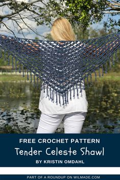 Looking for summer crochet shawls ideas? This beautiful shawl made by Kristin Omdahl is part of a roundup on wilmade.com. #crochet #shawl #scarf #wrap #summer #spring #crochet #pattern